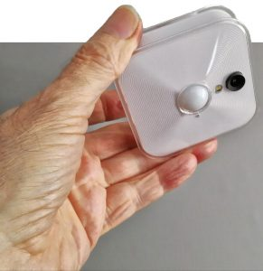 Blink camera, smaller than a pocket radio.