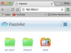 FlashAir through the Web browser
