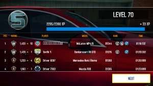 Asphalt 8 timings run to three places of decimals.
