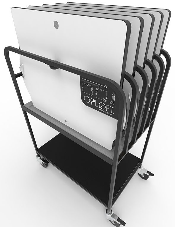 The Opløft storage rack holds 5 Opløft sit-stand desks.