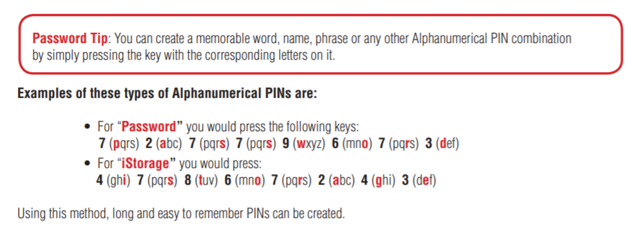 Creating mnemonic codes on the diskAshur keypad