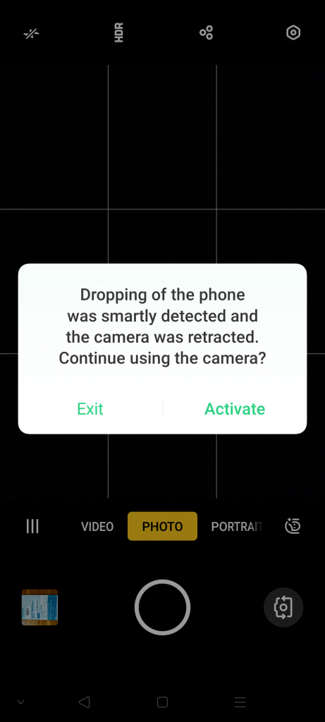 Drop detection closes the Reno 2 selfie camera