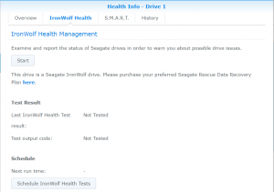 Iron Wolf Health (IWH) tab in Synology's Storage Manager