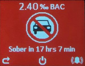 AlcoSense Pro showing over-the-limit BAC